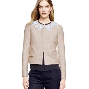 NWT Tory Burch Elisa Embellished Jacket Beige 14